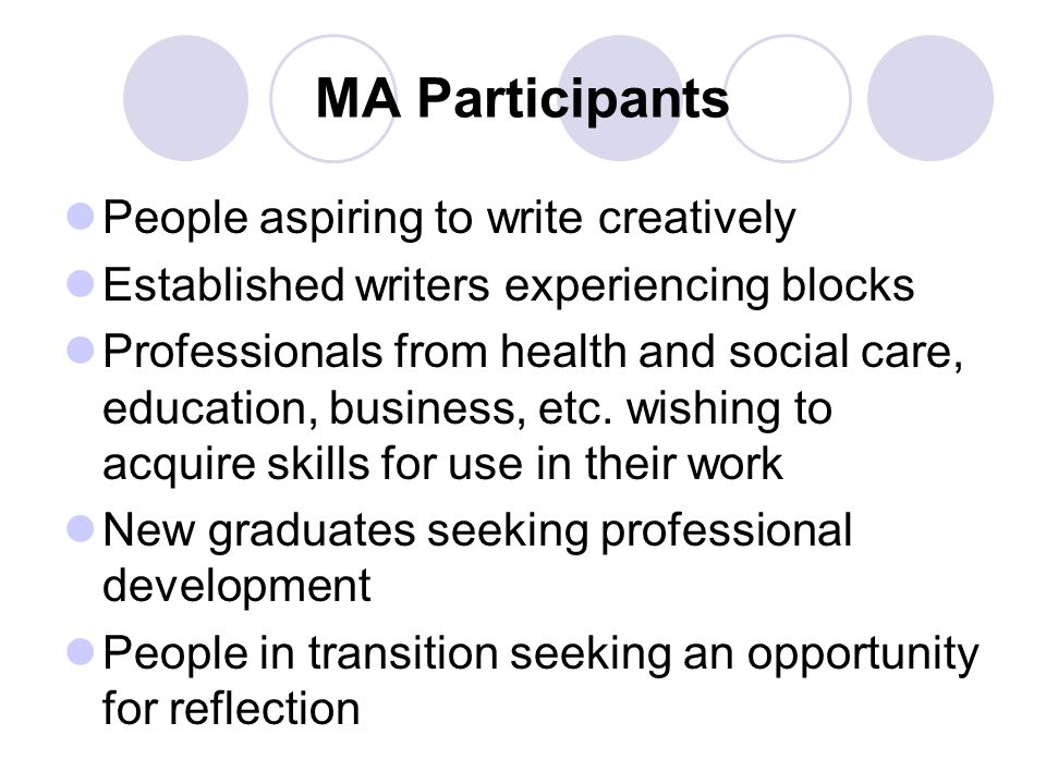 MA Participants People aspiring to write creatively Established writers experiencing blocks Professionals from health and social care, education, business, etc.