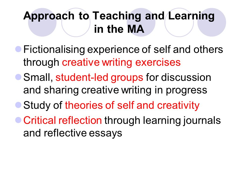 Approach to Teaching and Learning in the MA Fictionalising experience of self and others through creative writing exercises Small, student-led groups for discussion and sharing creative writing in progress Study of theories of self and creativity Critical reflection through learning journals and reflective essays