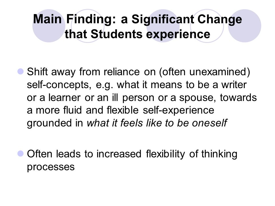 Main Finding: a Significant Change that Students experience Shift away from reliance on (often unexamined) self-concepts, e.g.