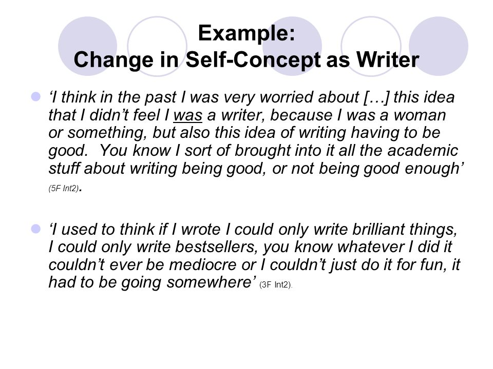Example: Change in Self-Concept as Writer I think in the past I was very worried about […] this idea that I didnt feel I was a writer, because I was a woman or something, but also this idea of writing having to be good.