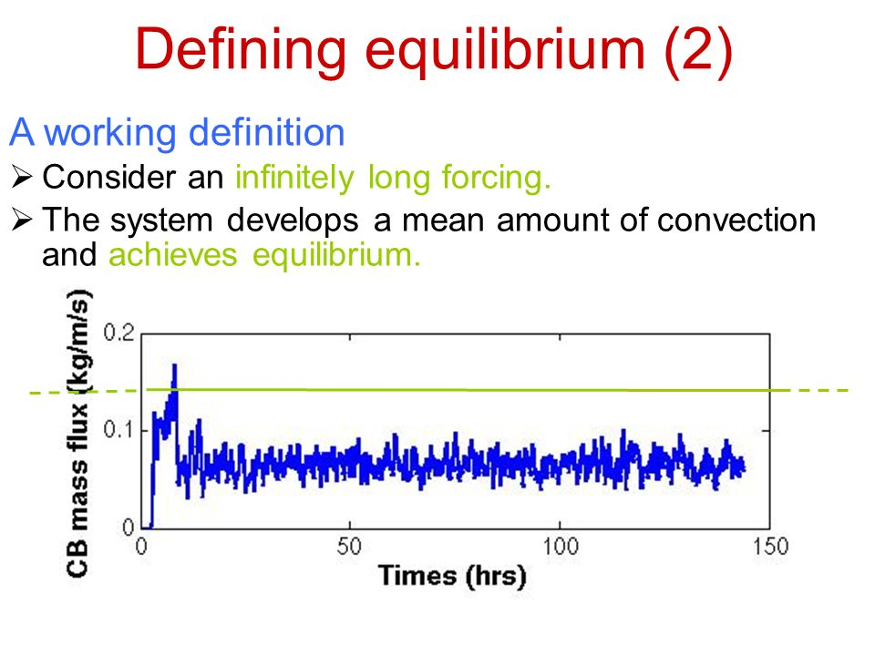 Defining equilibrium (2) A working definition Consider an infinitely long forcing.