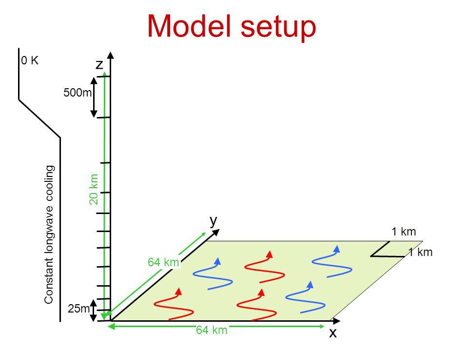 Model setup x y z 64 km 1 km Constant longwave cooling 20 km 500m 25m 0 K