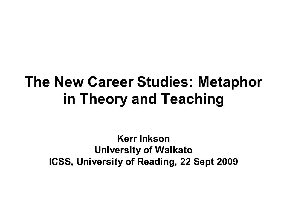 The New Career Studies: Metaphor in Theory and Teaching Kerr Inkson University of Waikato ICSS, University of Reading, 22 Sept 2009