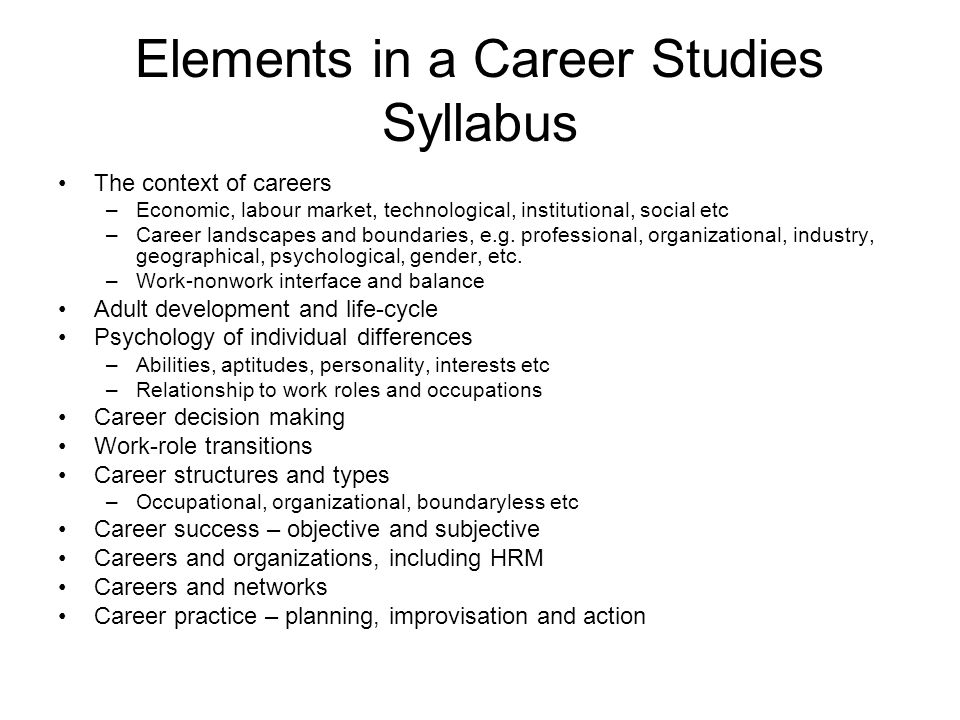 Elements in a Career Studies Syllabus The context of careers –Economic, labour market, technological, institutional, social etc –Career landscapes and boundaries, e.g.
