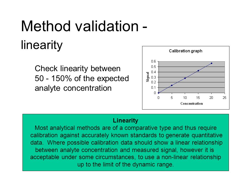 Method validation - linearity Linearity Most analytical methods are of a comparative type and thus require calibration against accurately known standa