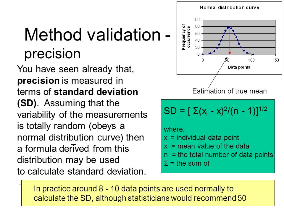 Method validation - precision You have seen already that, precision is measured in terms of standard deviation (SD). Assuming that the variability of
