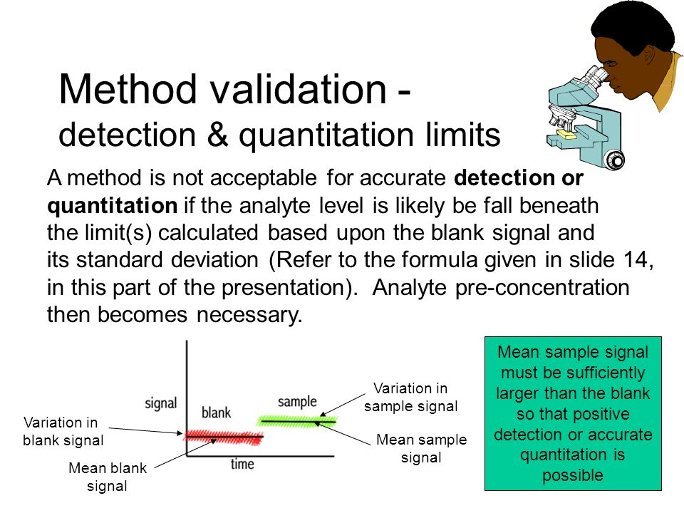 Method validation - detection & quantitation limits A method is not acceptable for accurate detection or quantitation if the analyte level is likely b