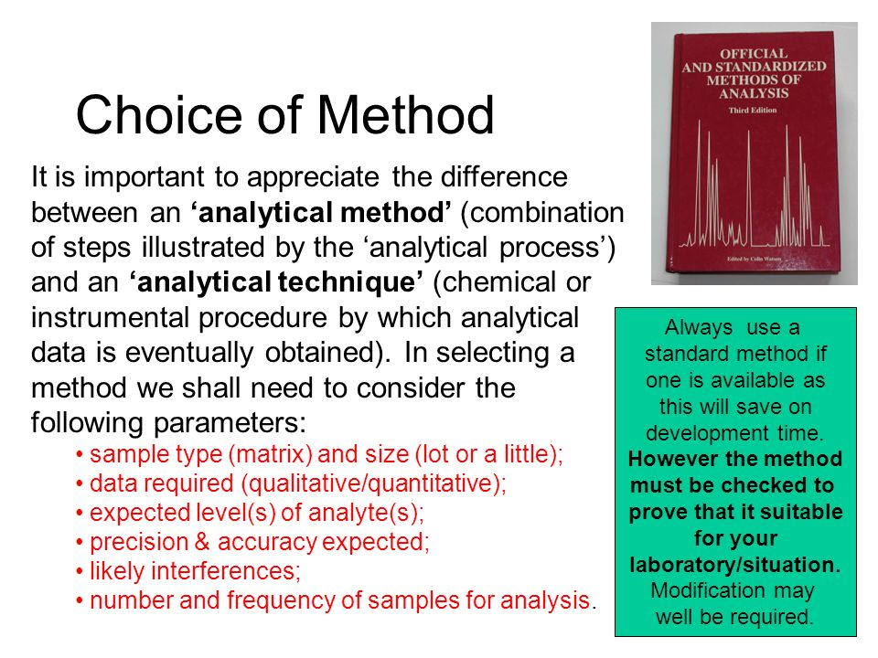 Choice of Method It is important to appreciate the difference between an analytical method (combination of steps illustrated by the analytical process