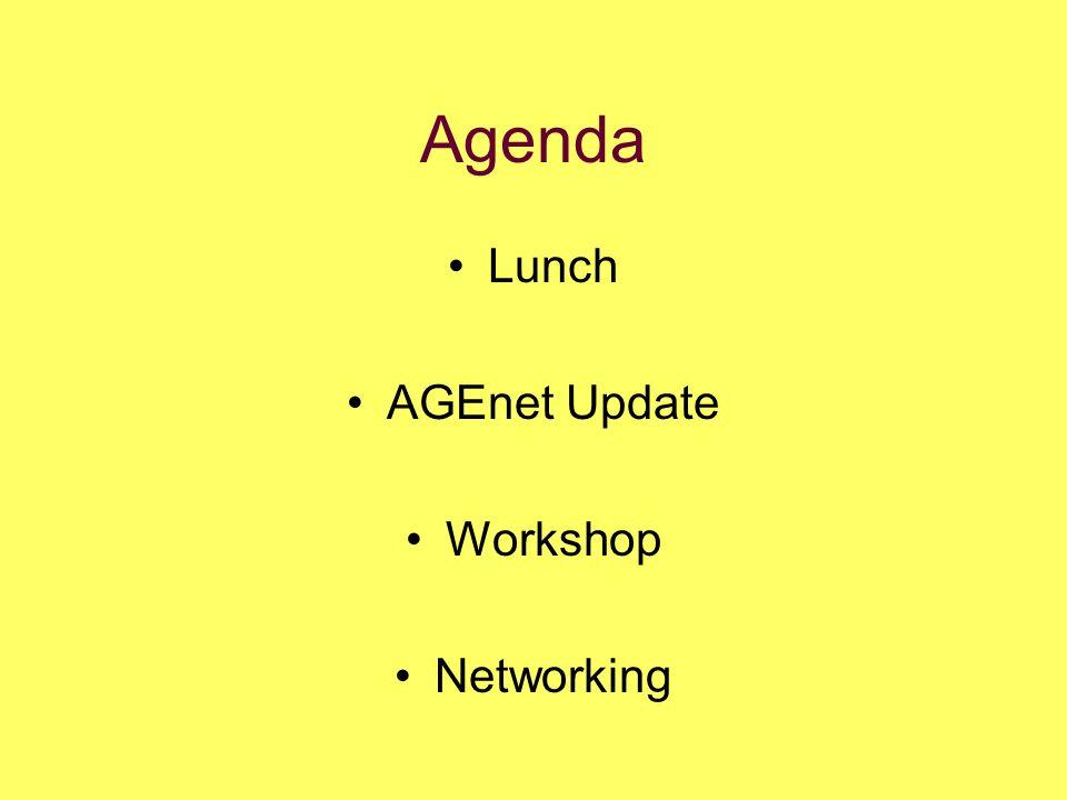 Agenda Lunch AGEnet Update Workshop Networking