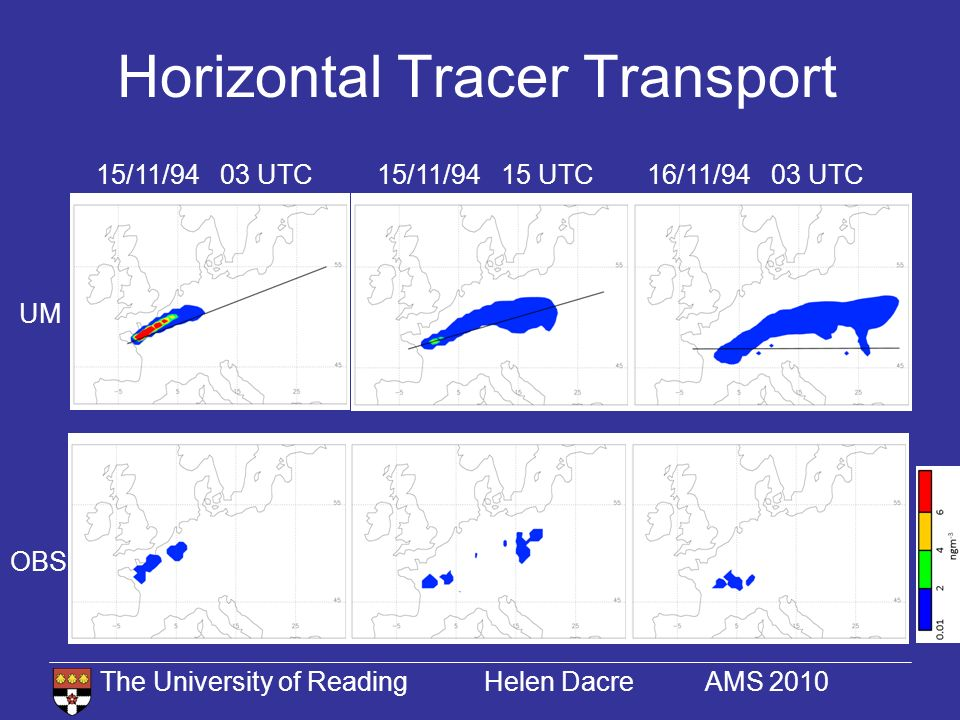 The University of Reading Helen Dacre AMS 2010 Horizontal Tracer Transport 15/11/94 03 UTC16/11/94 03 UTC15/11/94 15 UTC UM OBS