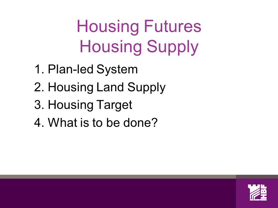 Housing Futures Housing Supply 1. Plan-led System 2.