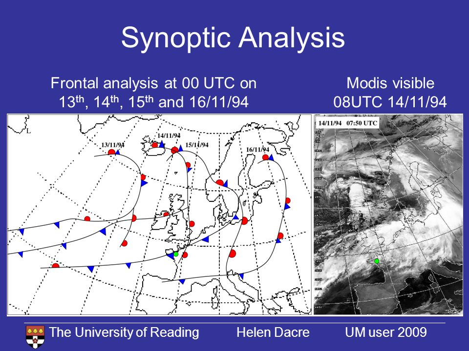The University of Reading Helen Dacre UM user 2009 Synoptic Analysis Modis visible 08UTC 14/11/94 Frontal analysis at 00 UTC on 13 th, 14 th, 15 th and 16/11/94