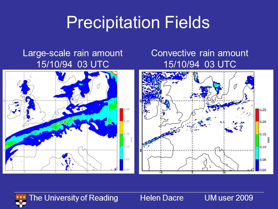 The University of Reading Helen Dacre UM user 2009 Precipitation Fields Convective rain amount 15/10/94 03 UTC Large-scale rain amount 15/10/94 03 UTC