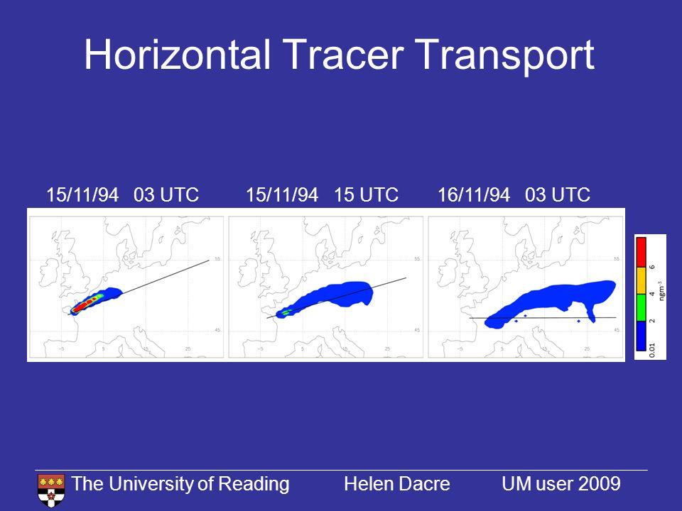 The University of Reading Helen Dacre UM user 2009 Vertical Tracer Transport 15/11/94 03 UTC16/11/94 03 UTC15/11/94 15 UTC 285K 286K 287K 288K 15/11/94 03 UTC15/11/94 15 UTC 285K 286K 287K 288K 16/11/94 03 UTC 285K 288K 287K 286K 15/11/94 15 UTC UM - no convection UM