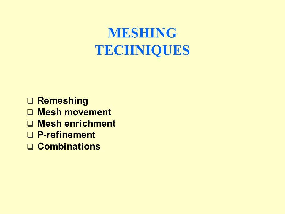 Remeshing Mesh movement Mesh enrichment P-refinement Combinations MESHING TECHNIQUES