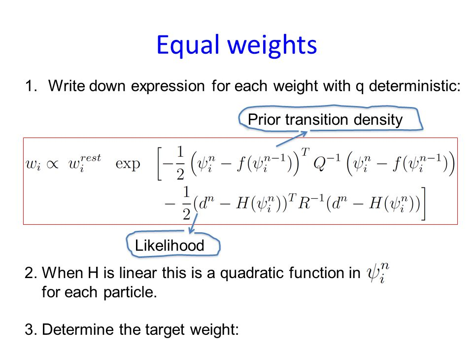 However: degeneracy For large-scale problems with lots of observations this method is still degenerate: Only a few particles get high weights; the oth