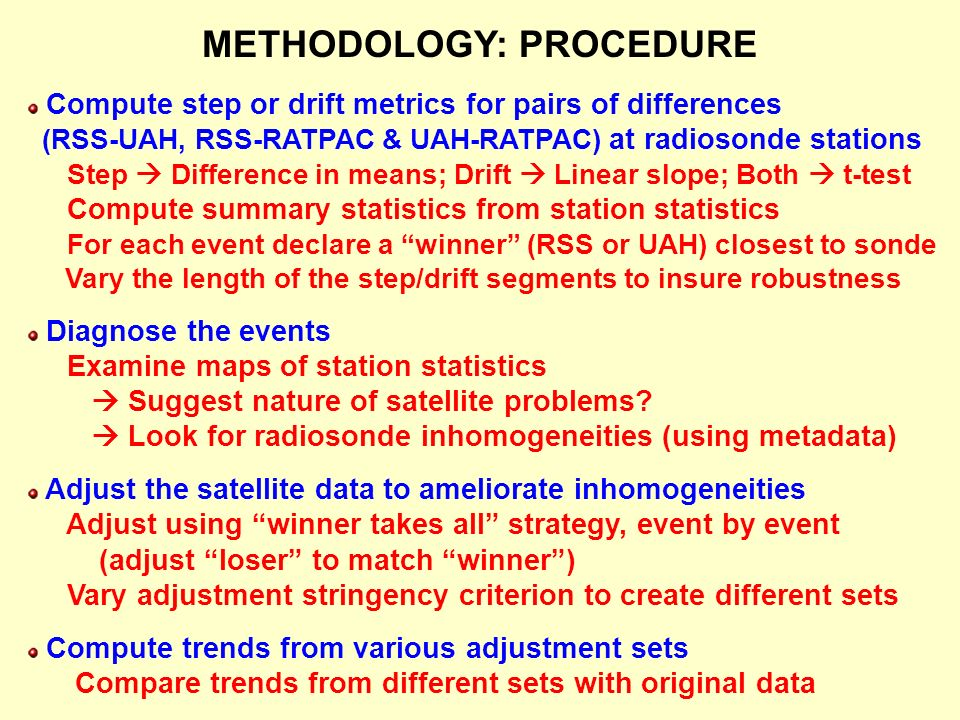 METHODOLOGY: PROCEDURE Compute step or drift metrics for pairs of differences (RSS-UAH, RSS-RATPAC & UAH-RATPAC) at radiosonde stations Step Difference in means; Drift Linear slope; Both t-test Compute summary statistics from station statistics For each event declare a winner (RSS or UAH) closest to sonde Vary the length of the step/drift segments to insure robustness Diagnose the events Examine maps of station statistics Suggest nature of satellite problems.