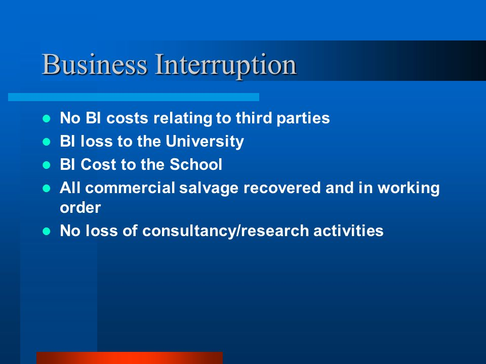 Business Interruption No BI costs relating to third parties BI loss to the University BI Cost to the School All commercial salvage recovered and in wo
