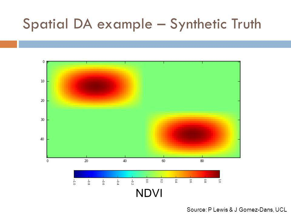 Spatial DA example – Synthetic Truth NDVI Source: P Lewis & J Gomez-Dans, UCL