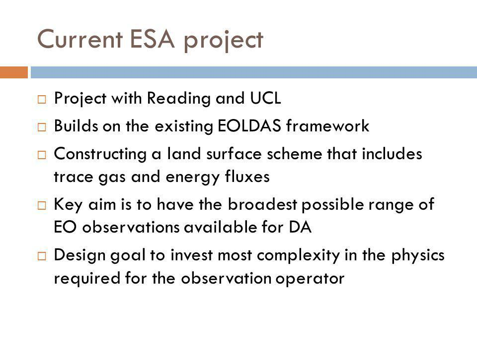 Current ESA project Project with Reading and UCL Builds on the existing EOLDAS framework Constructing a land surface scheme that includes trace gas an