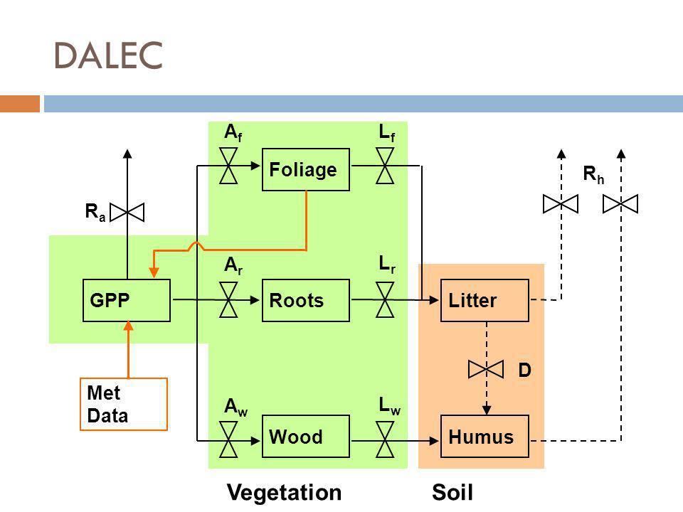 Vegetation Foliage Humus LitterRoots Wood GPP AfAf ArAr AwAw RaRa LfLf LrLr LwLw RhRh D Met Data Soil DALEC