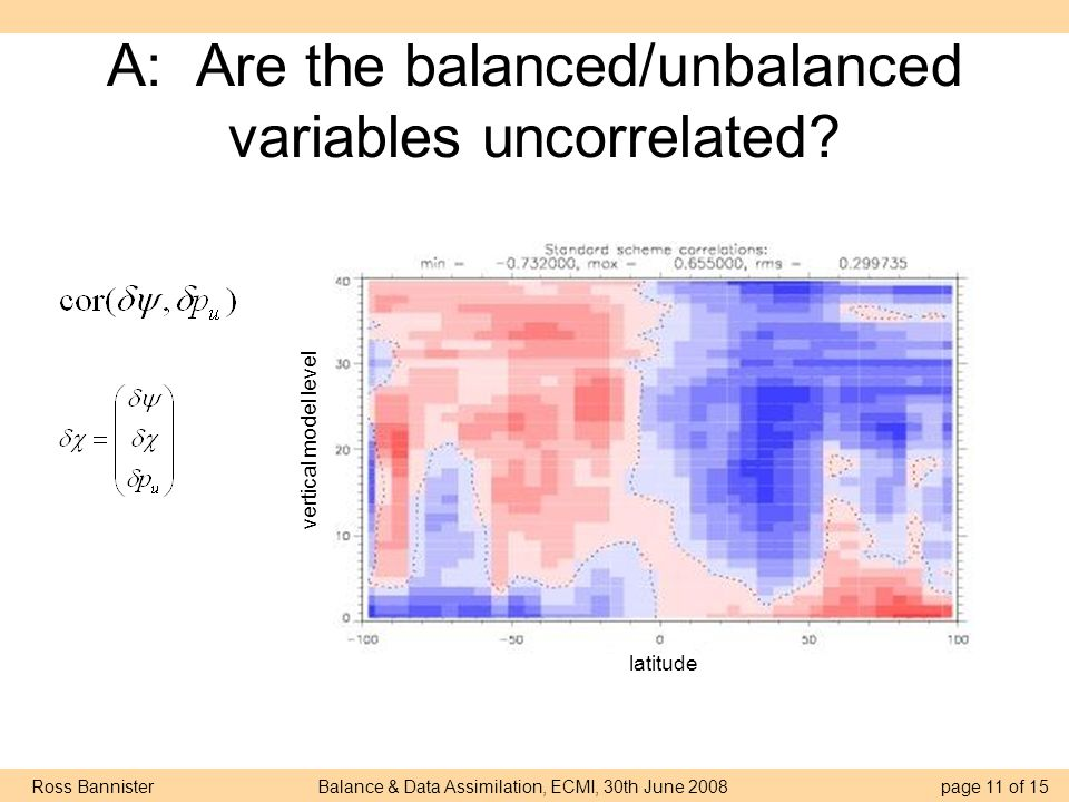 Ross Bannister Balance & Data Assimilation, ECMI, 30th June 2008 page 11 of 15 A: Are the balanced/unbalanced variables uncorrelated.