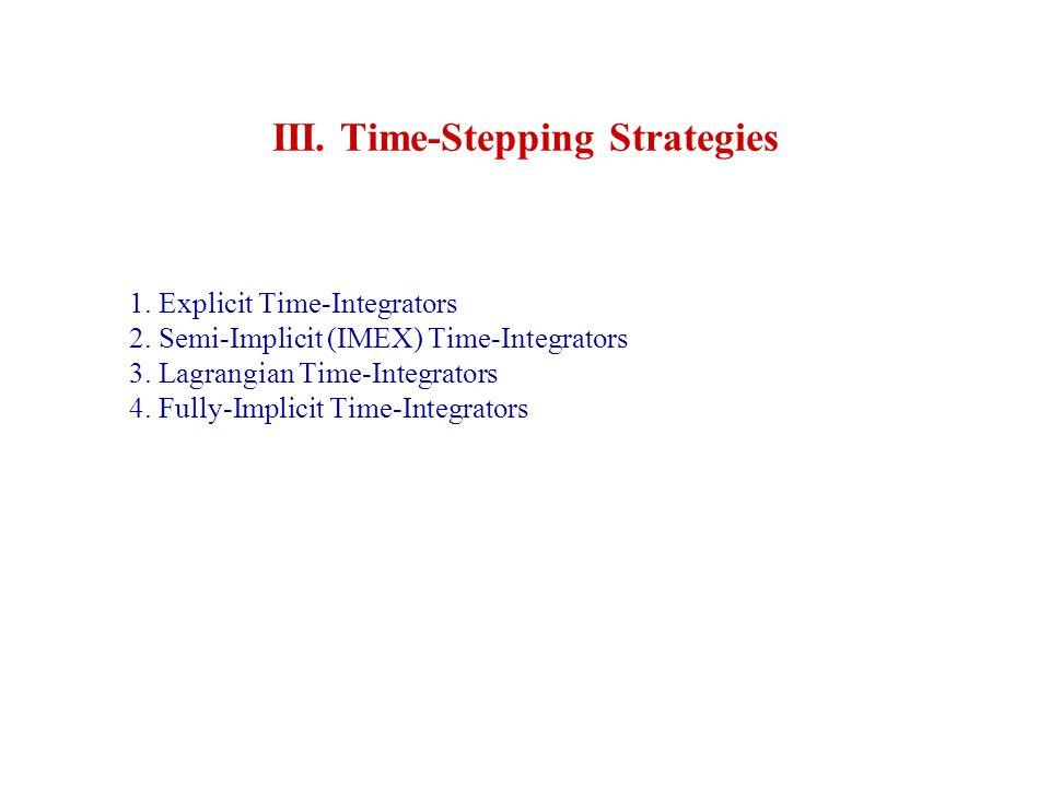 1. Explicit Time-Integrators 2. Semi-Implicit (IMEX) Time-Integrators 3. Lagrangian Time-Integrators 4. Fully-Implicit Time-Integrators III. Time-Step