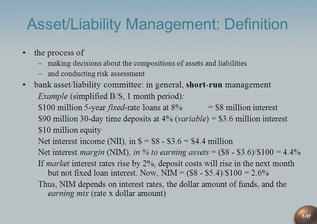 7-17 Asset/Liability Management: Definition the process of –making decisions about the compositions of assets and liabilities –and conducting risk ass