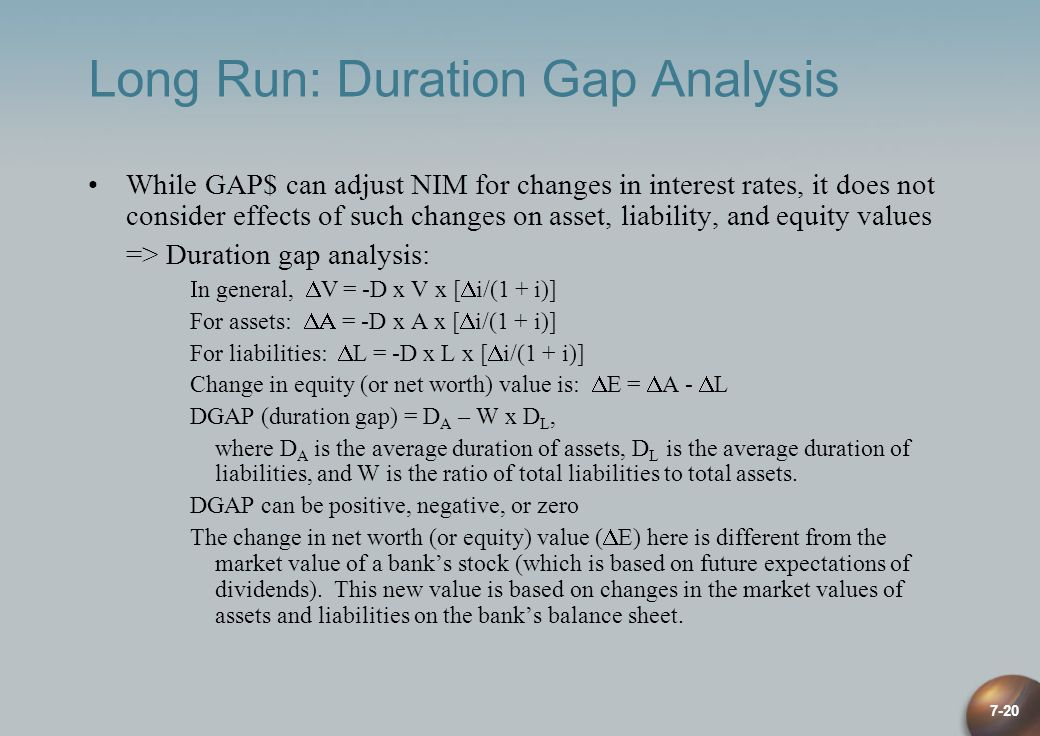 7-20 Long Run: Duration Gap Analysis While GAP$ can adjust NIM for changes in interest rates, it does not consider effects of such changes on asset, l
