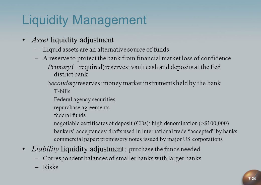 7-24 Liquidity Management Asset liquidity adjustment –Liquid assets are an alternative source of funds –A reserve to protect the bank from financial m