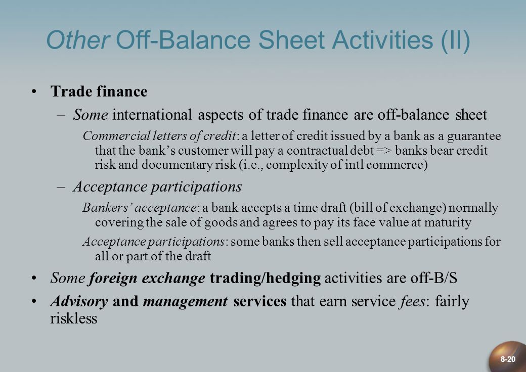 8-20 Other Off-Balance Sheet Activities (II) Trade finance –Some international aspects of trade finance are off-balance sheet Commercial letters of credit: a letter of credit issued by a bank as a guarantee that the banks customer will pay a contractual debt => banks bear credit risk and documentary risk (i.e., complexity of intl commerce) –Acceptance participations Bankers acceptance: a bank accepts a time draft (bill of exchange) normally covering the sale of goods and agrees to pay its face value at maturity Acceptance participations: some banks then sell acceptance participations for all or part of the draft Some foreign exchange trading/hedging activities are off-B/S Advisory and management services that earn service fees: fairly riskless