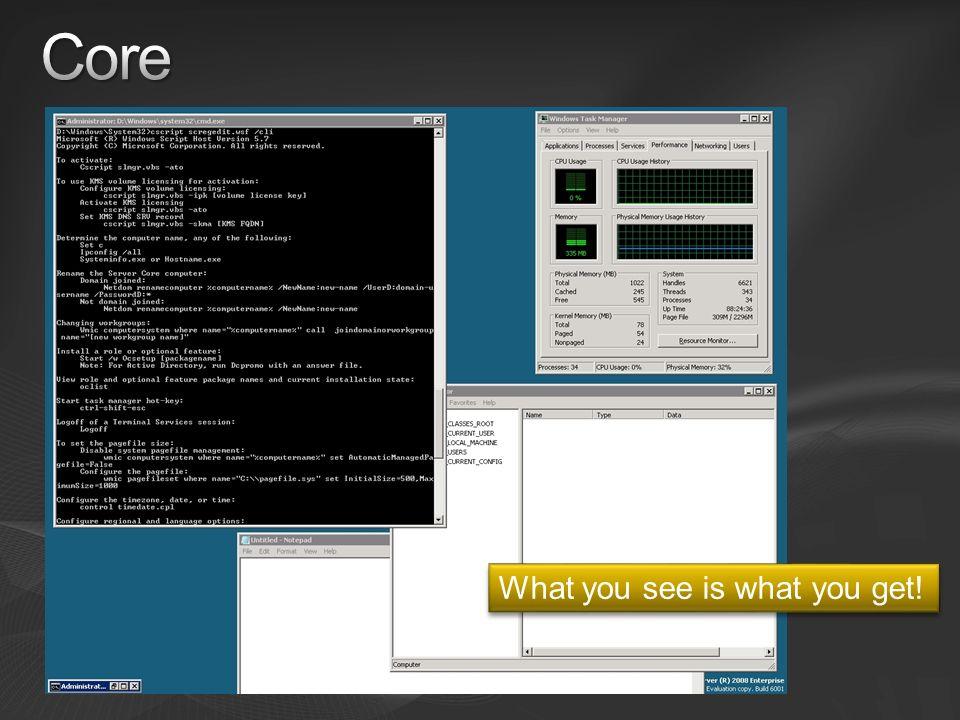 Windows Server Site - TechNet http://technet.microsoft.com/en-gb/windowsserver/2008/default.aspx Hyper-V (now RTM) Windows Server 2008: Hyper-V FAQ Powershell http://www.microsoft.com/windowsserver2003/technologies/management/powershell/def ault.mspx Server Manager http://technet2.microsoft.com/windowsserver2008/en/servermanager/default.mspx http://technet2.microsoft.com/windowsserver2008/en/servermanager/default.mspx