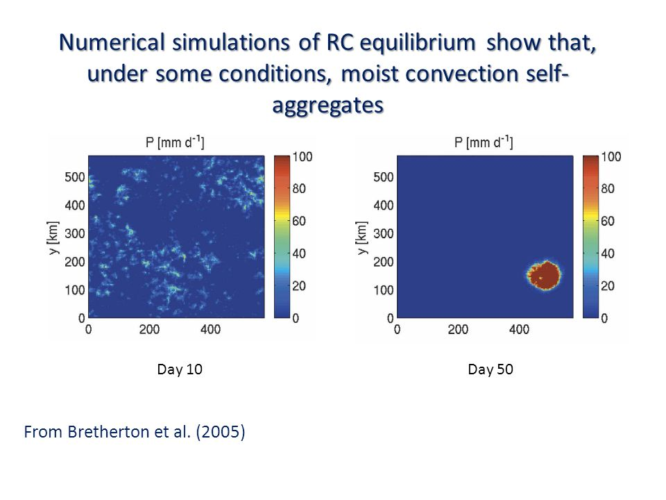 Numerical simulations of RC equilibrium show that, under some conditions, moist convection self- aggregates Day 10Day 50 From Bretherton et al. (2005)