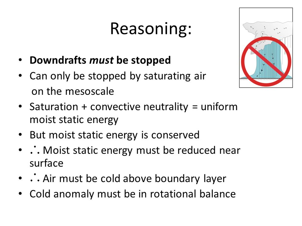 Reasoning: Downdrafts must be stopped Can only be stopped by saturating air on the mesoscale Saturation + convective neutrality = uniform moist static
