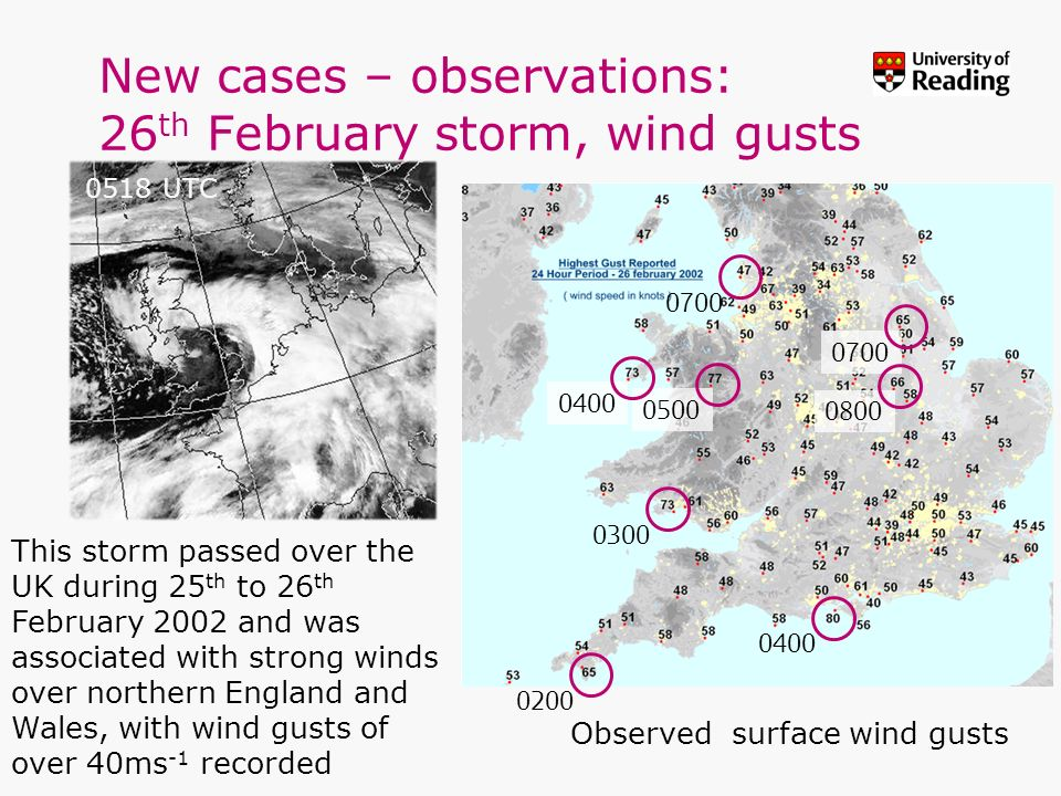 0300 0500 0700 0200 0700 0400 0800 0400 New cases – observations: 26 th February storm, wind gusts Observed surface wind gusts This storm passed over