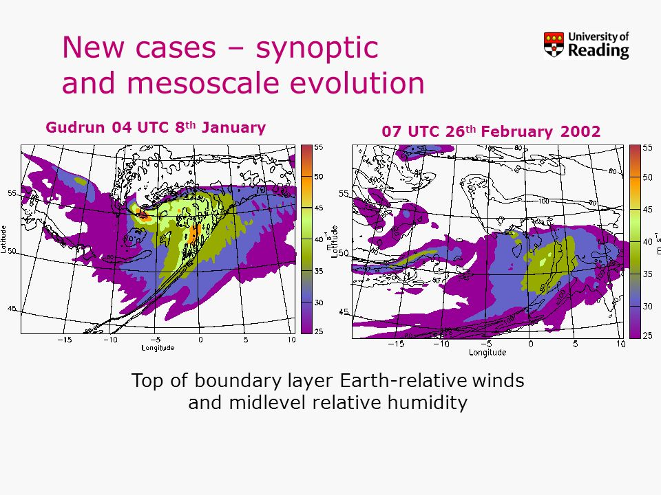 New cases – synoptic and mesoscale evolution Gudrun 04 UTC 8 th January 07 UTC 26 th February 2002 Top of boundary layer Earth-relative winds and midl