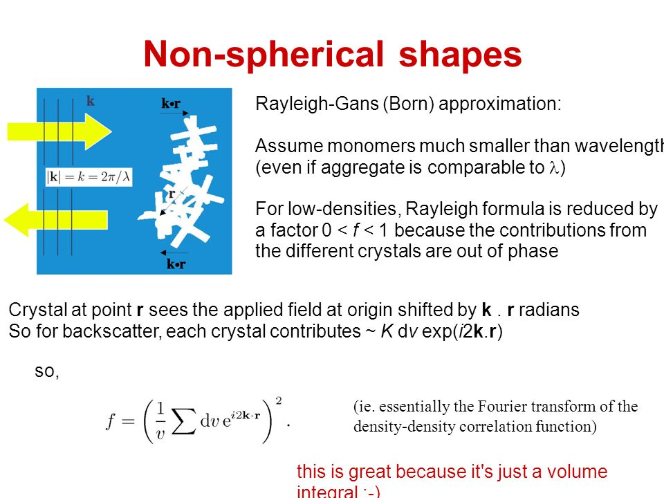 Non-spherical shapes Rayleigh-Gans (Born) approximation: Assume monomers much smaller than wavelength (even if aggregate is comparable to ) For low-densities, Rayleigh formula is reduced by a factor 0 < f < 1 because the contributions from the different crystals are out of phase Crystal at point r sees the applied field at origin shifted by k.