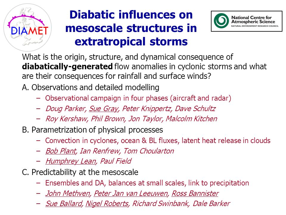 Diabatic influences on mesoscale structures in extratropical storms What is the origin, structure, and dynamical consequence of diabatically-generated flow anomalies in cyclonic storms and what are their consequences for rainfall and surface winds.