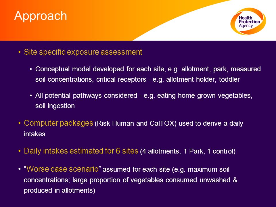 Approach Site specific exposure assessment Conceptual model developed for each site, e.g.