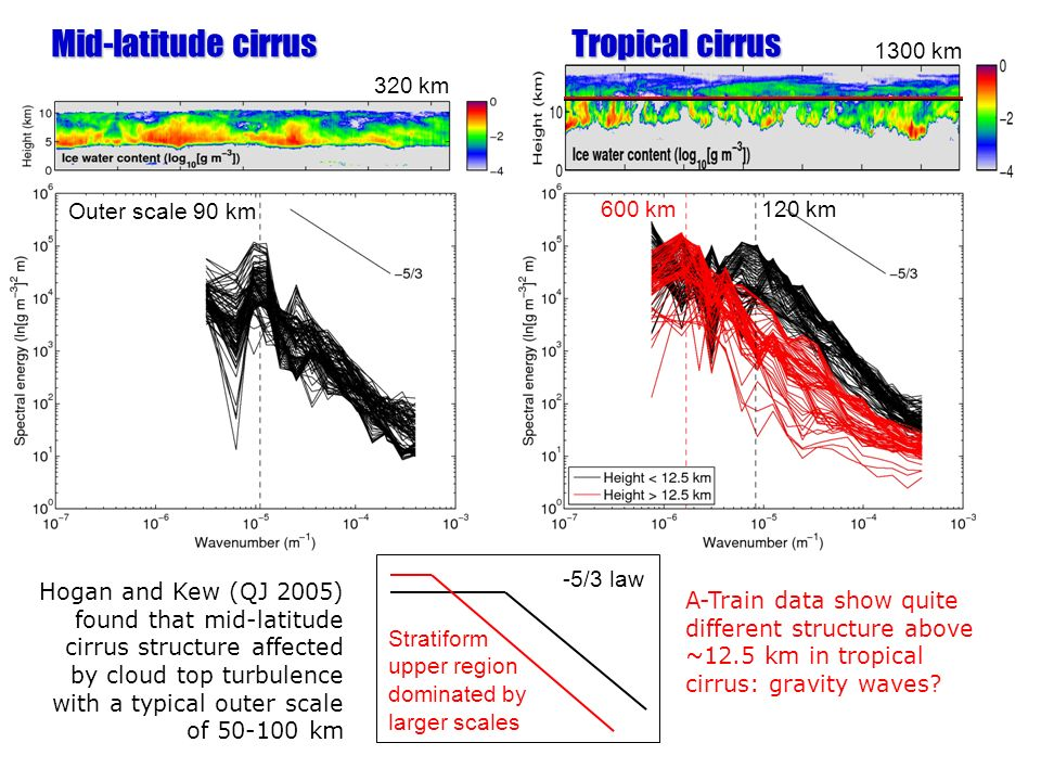 Hogan and Kew (QJ 2005) found that mid-latitude cirrus structure affected by cloud top turbulence with a typical outer scale of 50-100 km Outer scale