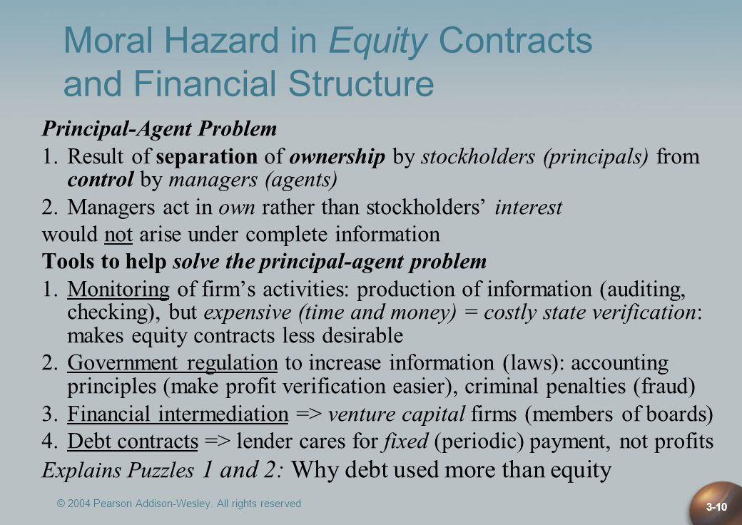 © 2004 Pearson Addison-Wesley. All rights reserved 3-10 Moral Hazard in Equity Contracts and Financial Structure Principal-Agent Problem 1.Result of s