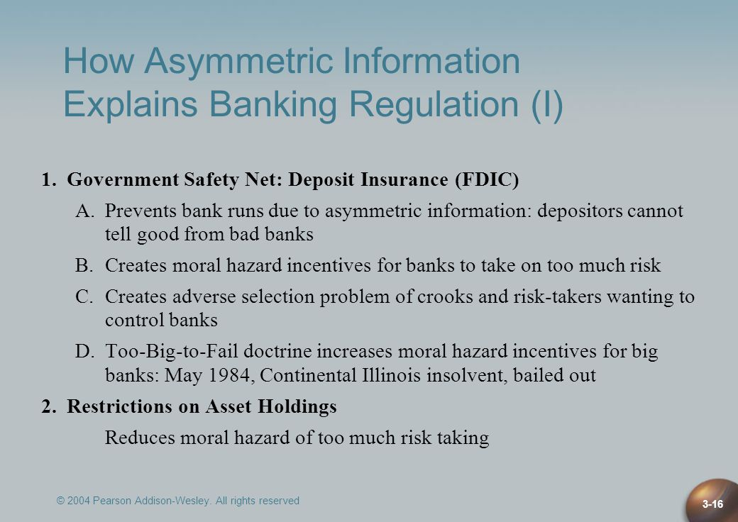 © 2004 Pearson Addison-Wesley. All rights reserved 3-16 How Asymmetric Information Explains Banking Regulation (I) 1.Government Safety Net: Deposit In