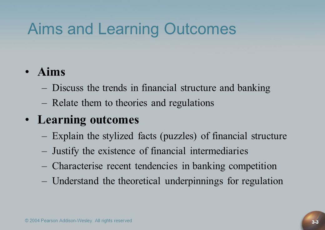 © 2004 Pearson Addison-Wesley. All rights reserved 3-3 Aims and Learning Outcomes Aims –Discuss the trends in financial structure and banking –Relate