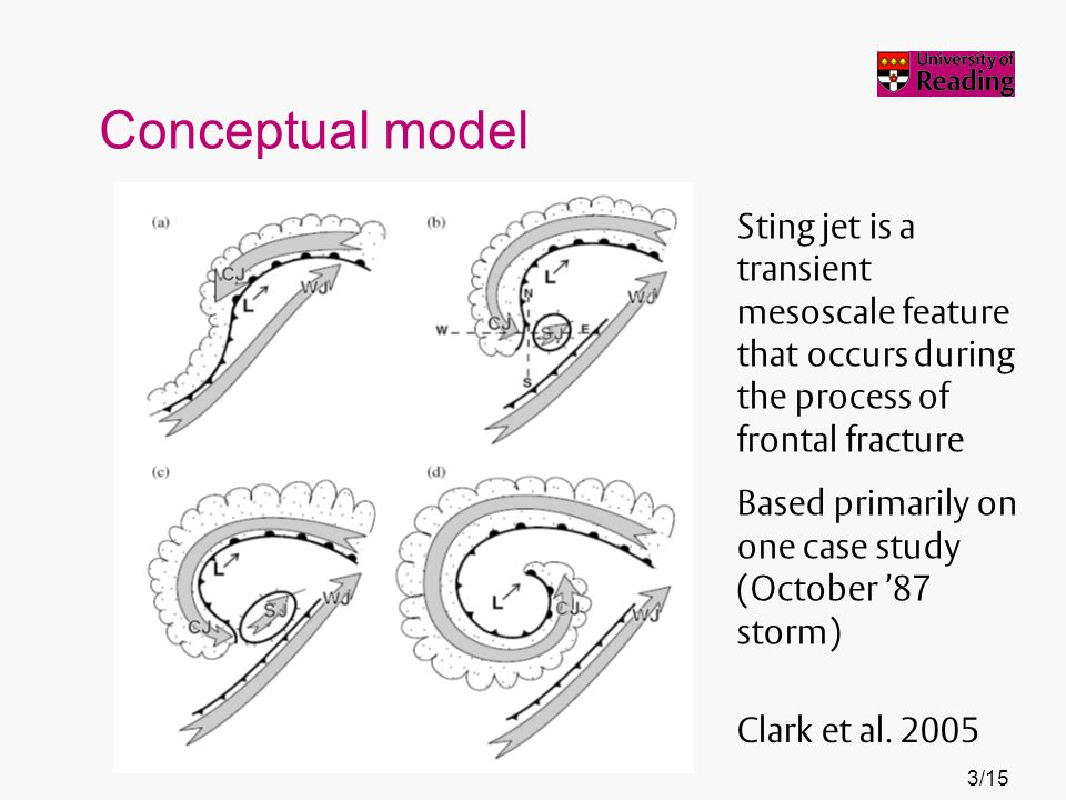 Conceptual model Clark et al. 2005 Sting jet is a transient mesoscale feature that occurs during the process of frontal fracture Based primarily on on