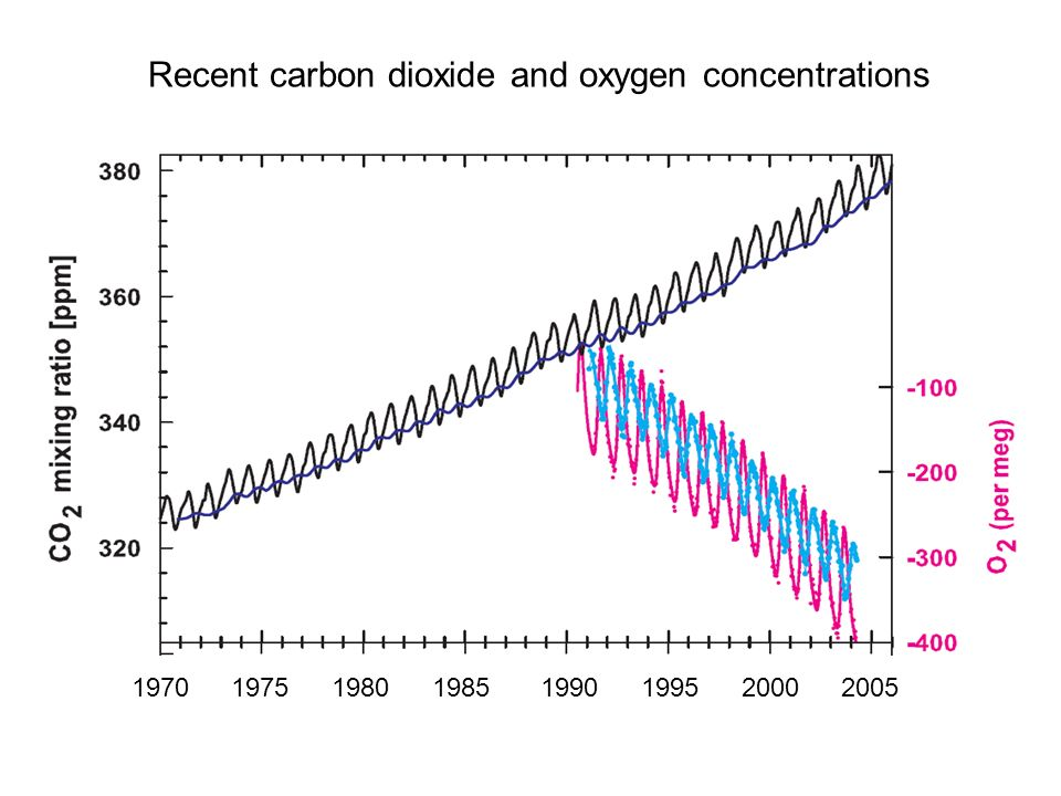 Recent carbon dioxide and oxygen concentrations 19701975198019851990199520002005
