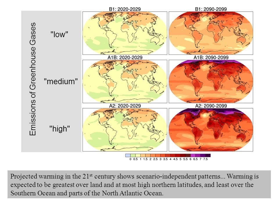 Projected warming in the 21 st century shows scenario-independent patterns...