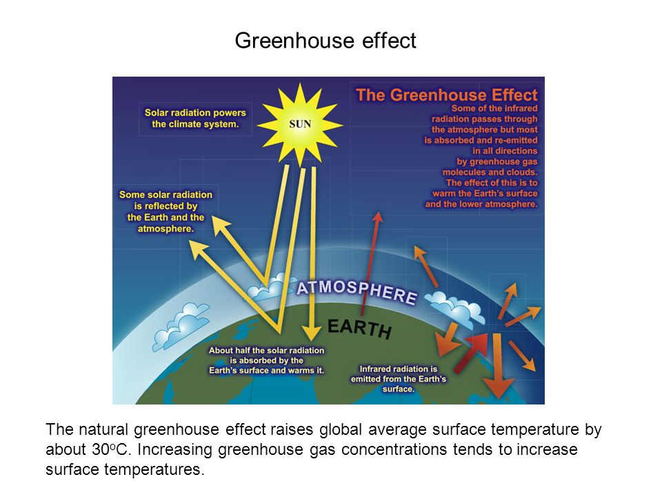 Greenhouse effect The natural greenhouse effect raises global average surface temperature by about 30 o C.