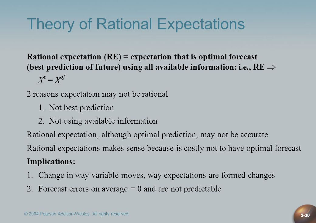 © 2004 Pearson Addison-Wesley. All rights reserved 2-30 Theory of Rational Expectations Rational expectation (RE) = expectation that is optimal foreca