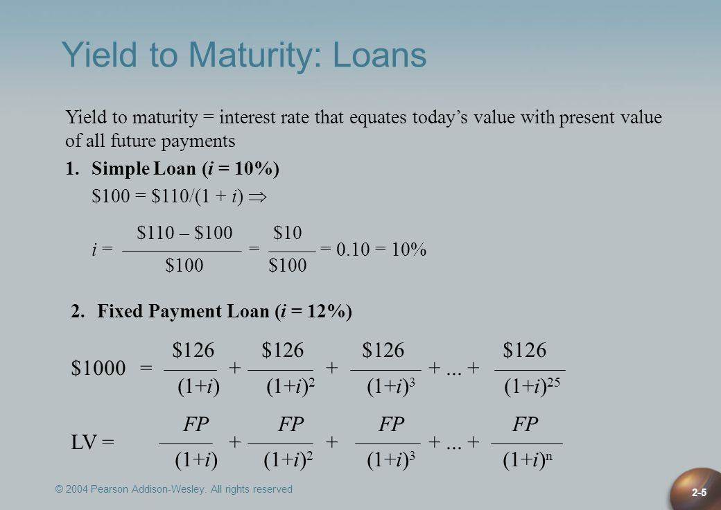 © 2004 Pearson Addison-Wesley. All rights reserved 2-5 Yield to Maturity: Loans Yield to maturity = interest rate that equates todays value with prese