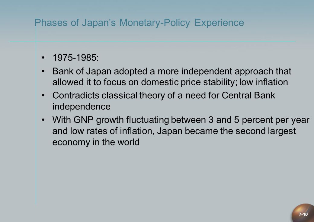 7-10 1975-1985: Bank of Japan adopted a more independent approach that allowed it to focus on domestic price stability; low inflation Contradicts clas